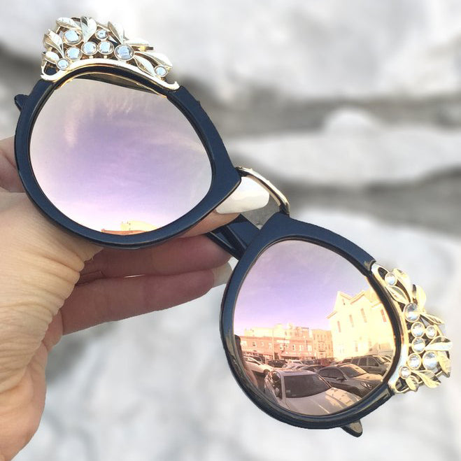 Grace Sunnies - Black Frame / Rose Gold Lens