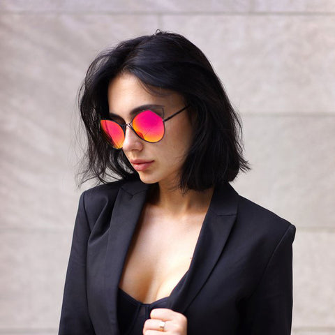 Indecent Cateye Sunnies -  Blood/Orange + Black Frame