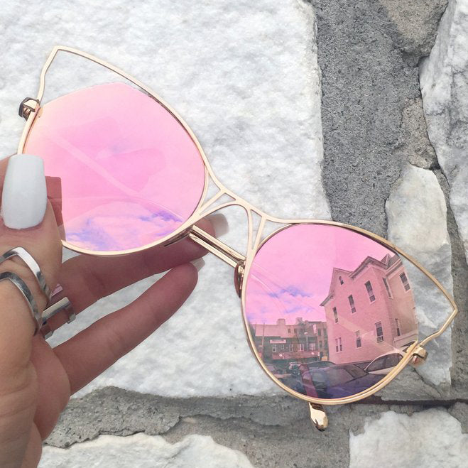 Indecent Cateye Sunnies - Rose Gold + Gold Frame - TopFoxx