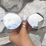 Indecent Cateye Sunnies - Silver + White Frame