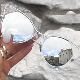 Indecent Cateye Sunnies - Silver + White Frame - TopFoxx