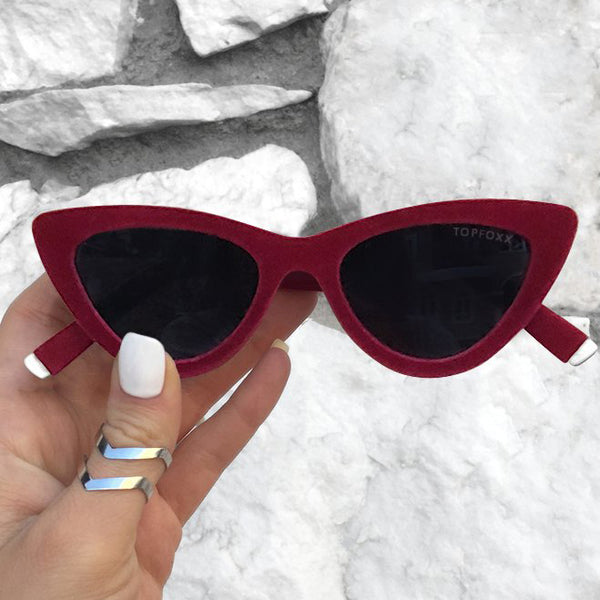 Topfoxx Sunglasses Matrix Cat Eye Red Velvet Frame Black Lens
