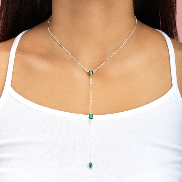 Topfoxx Jewelry Sterling Silver Necklace Emerald Crystal