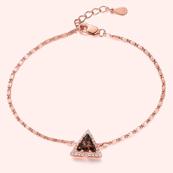 Topfoxx Jewelry Sterling Silver Bracelet Talisman Rose Gold Chain Triangle Cut Crystal