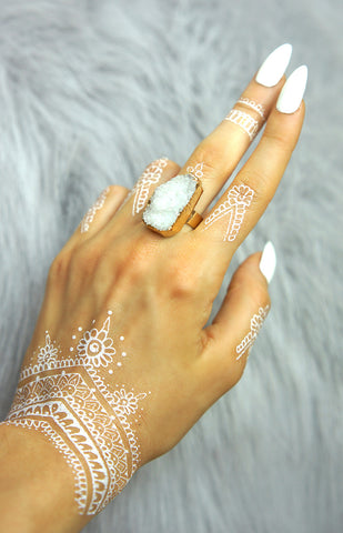 """ Lilly"" - White Druzy - Ring - TopFoxx"