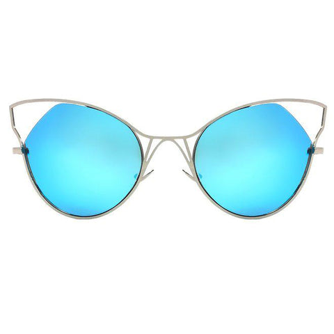 Indecent Cateye Sunnies - Blue + Silver Frame