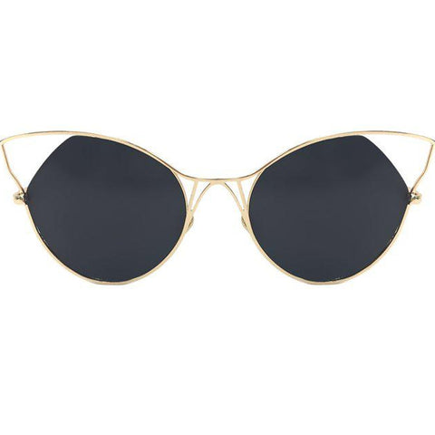 Indecent Cateye Sunnies - Black + Gold Frame