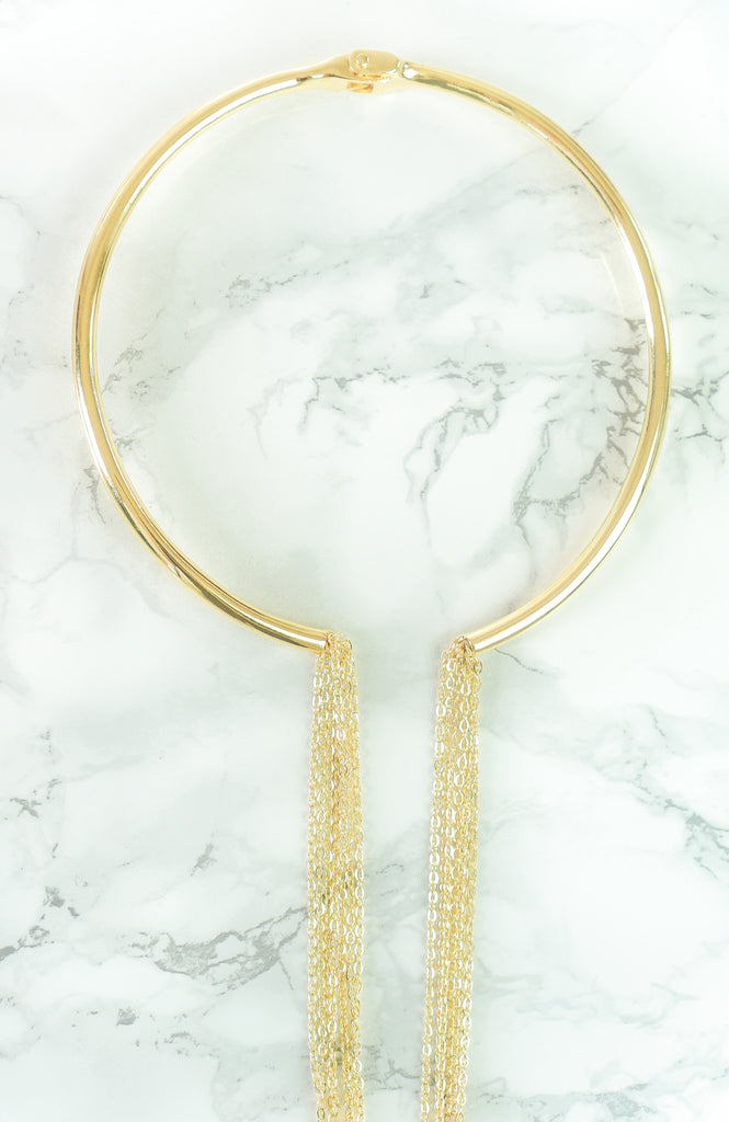 "Jewelry - ""Linda"" - Brass Or Gold -  Asymmetrical Chain Choker Necklace"