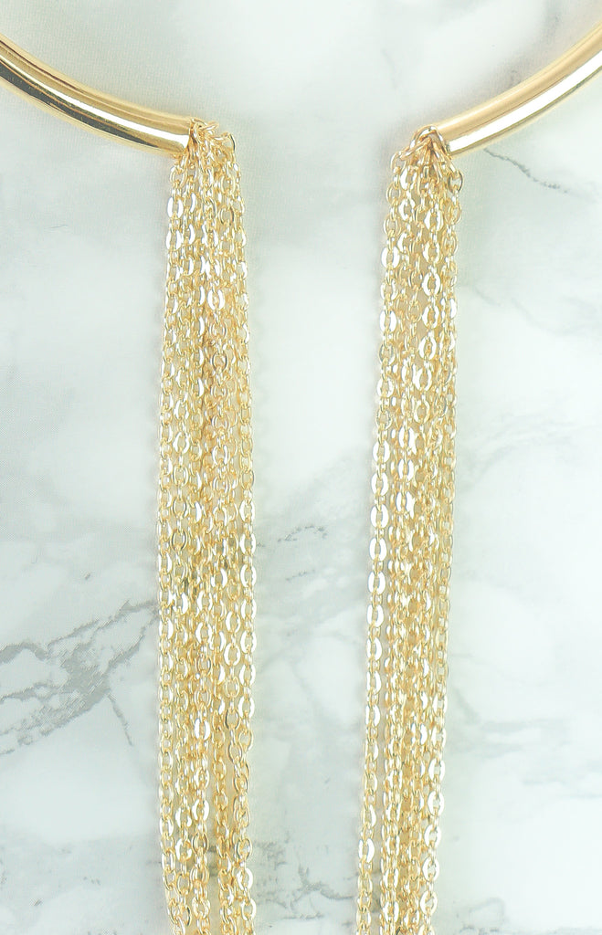 """Linda"" - Brass or Gold -  Asymmetrical Chain Choker Necklace - TopFoxx"