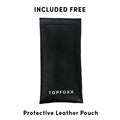 Topfoxx Kids Blue Light Blockers Wayfarer Style Dexter Black Protective Leather Pouch Case