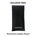 Topfoxx Prescription Glasses Blue Light Blockers Stella Tan Protective Leather Pouch Case