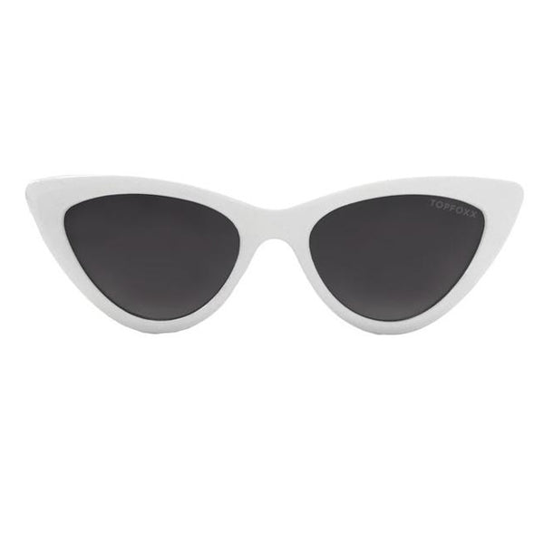 Topfoxx Sunglasses Matrix Cat Eye White Frame Smoke Black Lens