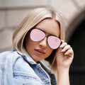 Topfoxx Sunglasses Megan Aviators Black Frame Rose Gold Lens