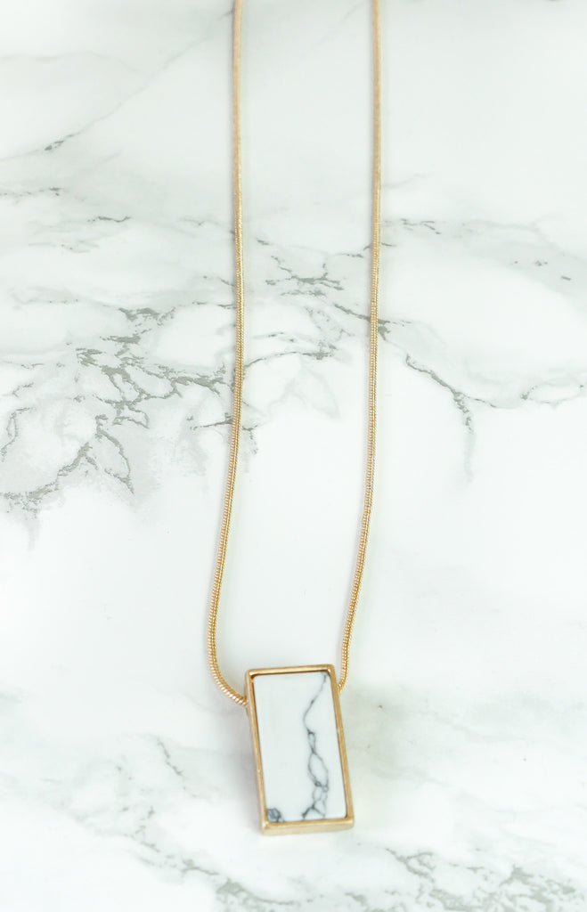 "Necklace - ""Angela"" - BrassGold/Marble - Long Necklace"