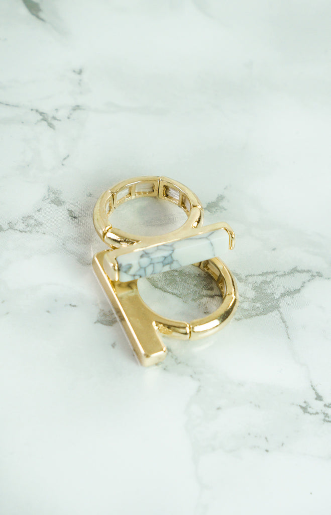 "Rings - ""High Class"" 2 Piece - Gold/Marble - Rings"