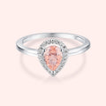 Topfoxx Jewelry Sterling Silver Ring Sugar Mama Silver Band Blush Pink Pear Cut Crystal