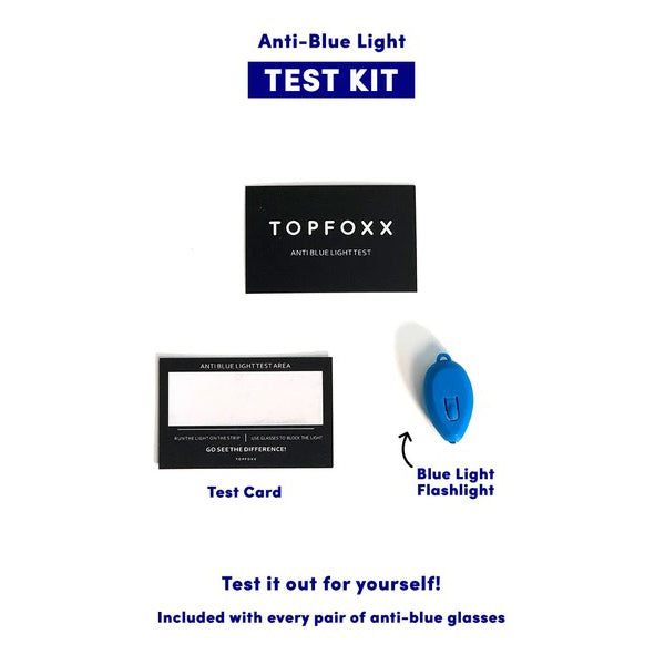 Topfoxx Blue Light Blockers Glasses Stella Sky Blue Test Kit