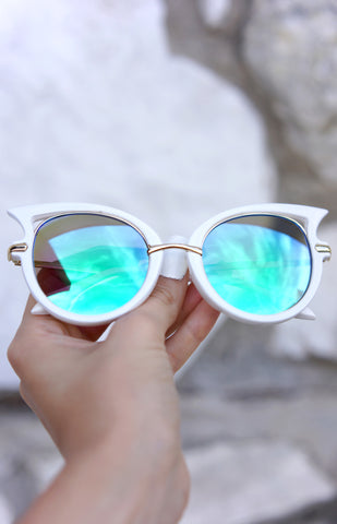 ButterFly Sunnies - White/Turquoise