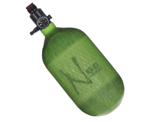 Ninja Lite Translucent Lime Carbon Fiber Air Tank 68/4500 w Standard Adjustable Reg - PREORDER