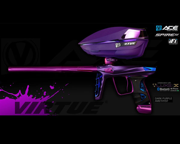 Virtue Ace Paintball Marker w Spire IV Loader Amethyst Purple