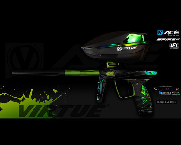 Virtue Ace Paintball Marker w Spire IV Loader Black Emerald - PREORDER
