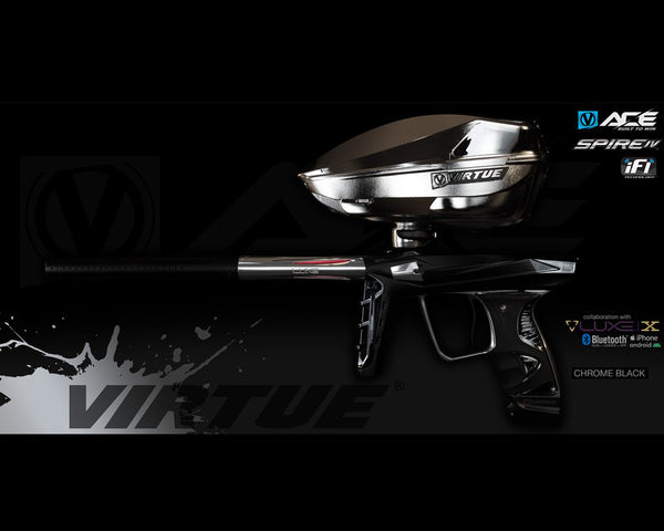Virtue Ace Paintball Marker w Spire IV Loader Chrome Black
