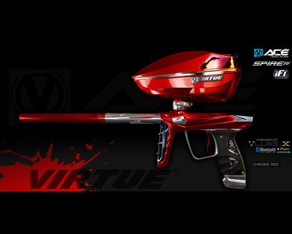 Virtue Ace Paintball Marker w Spire IV Loader Chrome Red