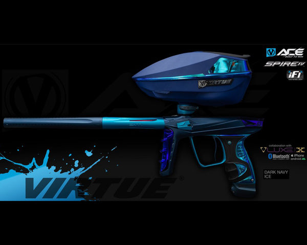 Virtue Ace Paintball Marker w Spire IV Loader Dark Navy Ice