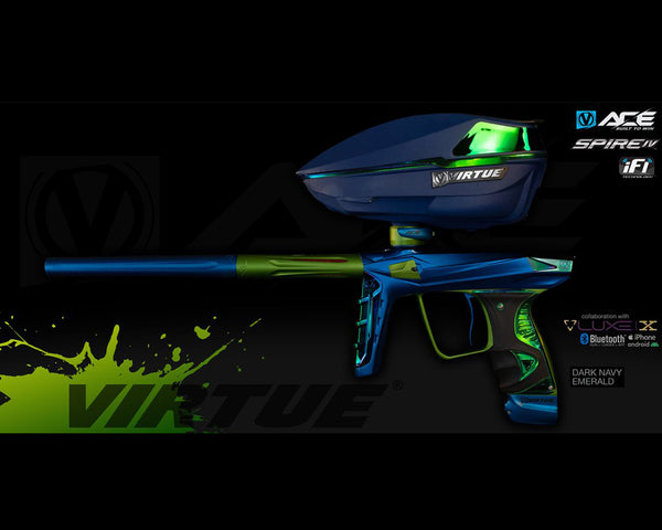 Virtue Ace Paintball Marker w Spire IV Loader Dark Navy Emerald