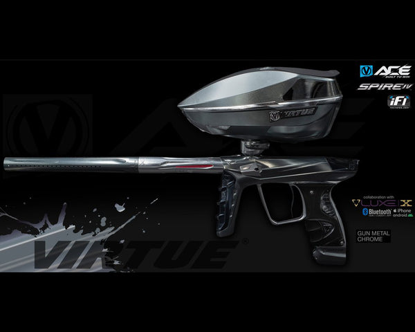 Virtue Ace Paintball Marker w Spire IV Loader Gun Metal Chrome
