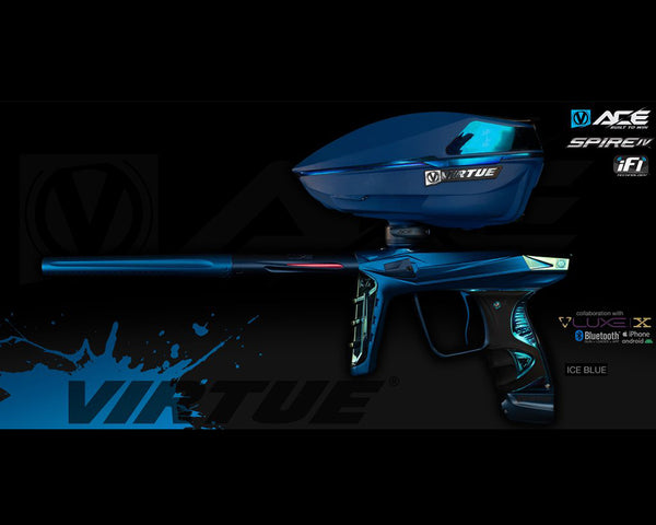 Virtue Ace Paintball Marker w Spire IV Loader Ice Blue