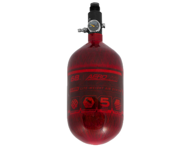 HK Army Aerolite 68/4500 Carbon Fiber Paintball HPA Air Tank Red