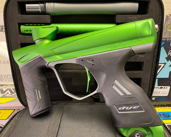 Used Dye Precision DSR Paintball Marker Gun Lime Grey