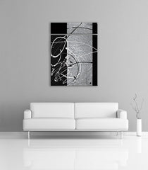 Modern home decorations - Image of a grey, black and silver modern abstract painting