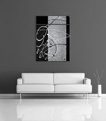 Contemporary art decor image - grey, black and silver modern abstract painting