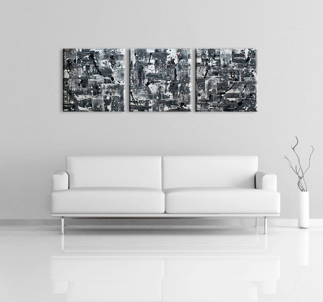 Modern home designs - Image of a 3 panel grey, white and black modern abstract painting