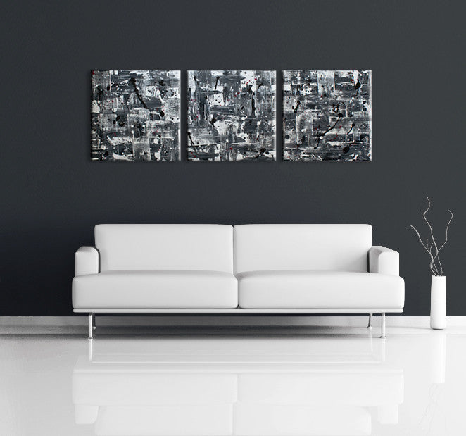 Art gallerys - Image of a 3 panel grey, white and black modern abstract painting