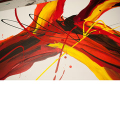 Close up image of a large, feature abstract painting created with flowing red, brown, orange and yellow acrylic paints
