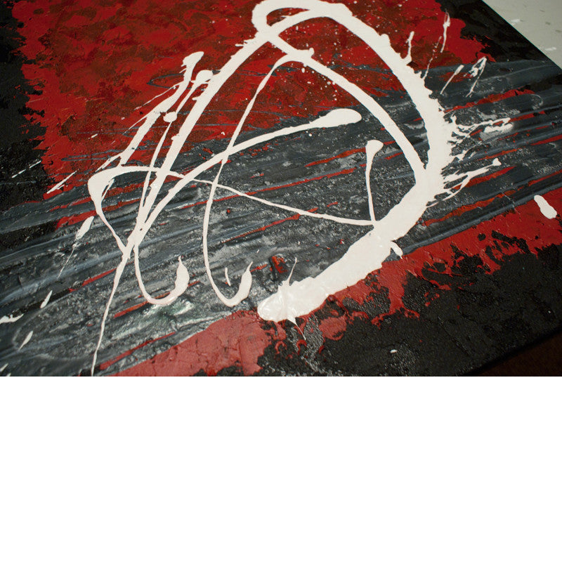 Close up image of a red, black, white and grey contemporary abstract painting