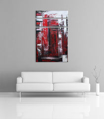 Abstract photos - Red, black and white abstract acrylic painting