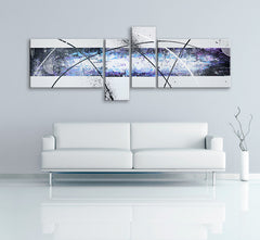 Image of a 4 panel modern abstract painting, made up of light purple, white, black and light blue. Image of a 4 panel modern abstract painting, made up of red, white, black, light blue, orange, green and light purple. The painting is on a white wall above a white couch.