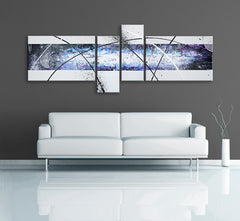 Image of a 4 panel modern abstract painting, made up of light purple, white, black and light blue. Image of a 4 panel modern abstract painting, made up of red, white, black, light blue, orange, green and light purple. The painting is on a grey wall above a white couch.