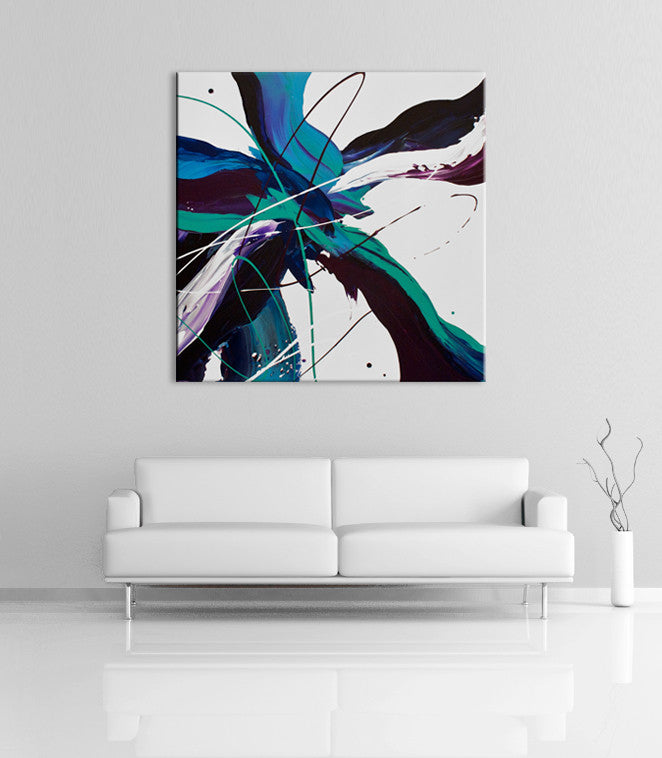 Modern home decor - Image of a purple, white, blue and green modern abstract painting