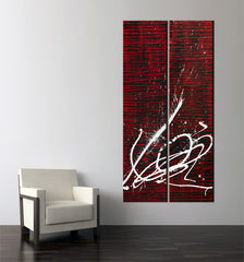 Abstract art work - Image of a 2 panel red and black striped abstract painting