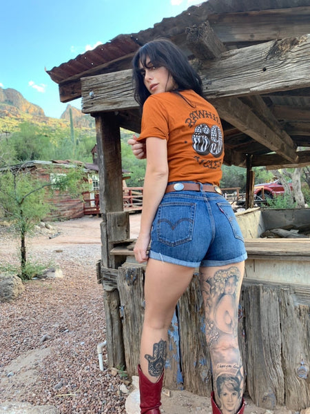 Rawhide Cycles x Austin Maples 69 Tee in Vintage Orange