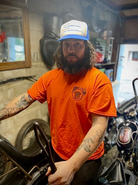 Rawhide Cycles Shovelhead Tee in Safety Orange