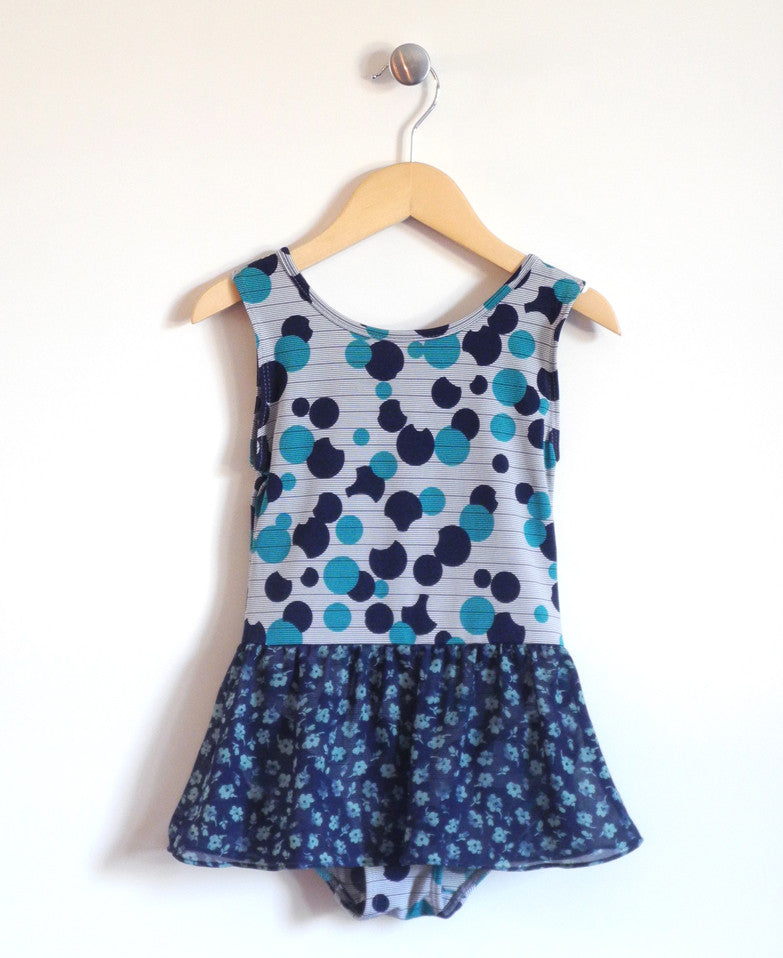 Tiny Dancer Leotard in Blue Dot