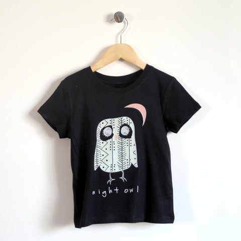 Night Owl Kids T-Shirt in Light Blue