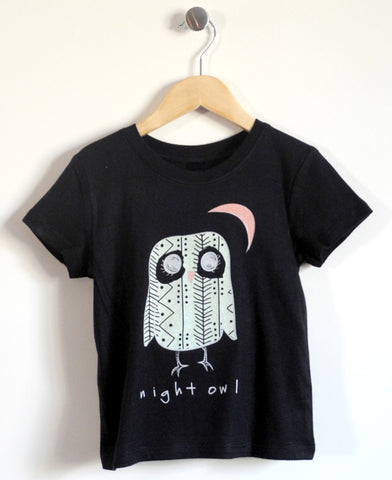 Night Owl Kids T-Shirt in Black