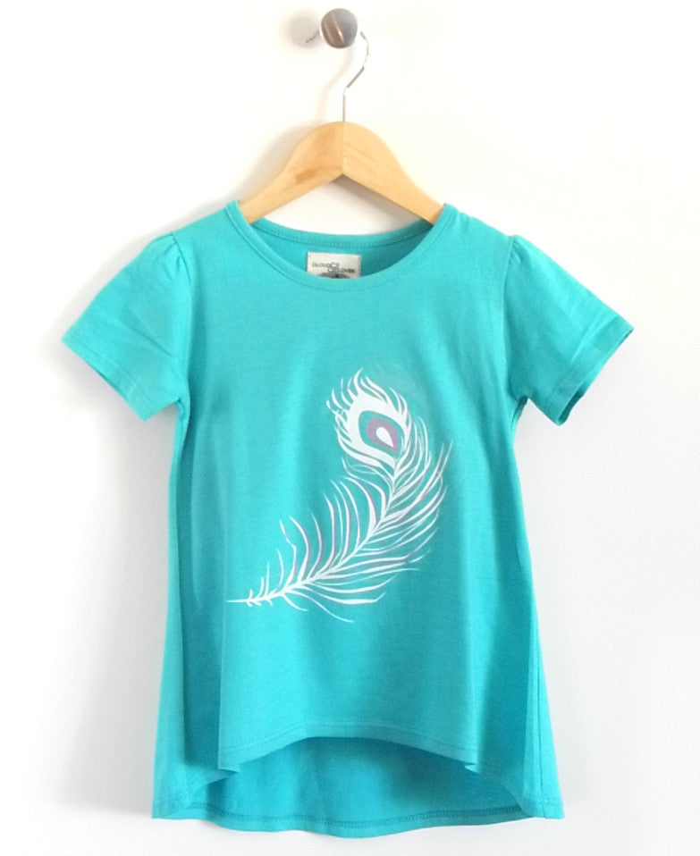 Feather Girls Tunic in Turquoise